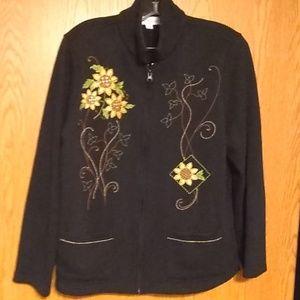 Flower embroidered zip up black sweat jackets